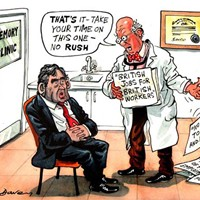 "The government reveals plans for early intervention in the rapidly increasing problem of Alzheimer's disease in the ageing population. These will involve memory tests. Gordon Brown, meanwhile, is suffering because of his 2007 speech promising ""British job"