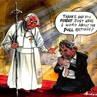 Brown's Absolution; Gordon Brown meets the Pope in the Vatican, ostensibly to confer about aid to developing countries. Always good to be seen hanging around with a pontiff. Who knows, some fairy dust might drop on to his shoulders.