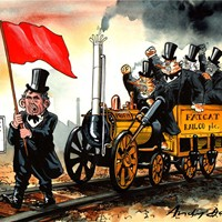 Fat Cat Railco; Gordon Brown insists that the cap of 1%-above-inflation rises in regulated rail fares must remain in place, even though the private rail companies have been whining about impending poverty and doom in a low-inflation or deflationary world. Poor fat cats! Poor shareholders! Reports of commuters' hearts bleeding are rife.