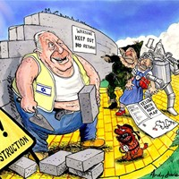 "Yellow Brick Road Map; Israeli Prime Minister Ariel Sharon visits the White House and seeks approval from Bush for his Big Idea. He plans to effectively tear up the middle-east ""Road Map"", declaring that the Palestinians are not credible partners in any peace process. Israel will hang on to the great swathes of the West Bank annexed by the ""security fence"". He also seeks to negate the Palestinian refugees' ""right to return"" to Israeli territory; instead buying them off by transferring the poorly irrigated Gaza strip to them. Dubya acknowledges the ""demographic realities"" of Israel's extended occupation of these areas, and supports the idea wholeheartedly. I just couldn't resist the Wizard of Oz metaphor with the road map and Arafat's extended search for ""home"""