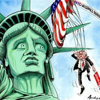 Liberty Dubya; Bush arrives in traditionally Democrat-supporting New York amidst a tumult of popular protest on the streets. He salutes liberty, but will Liberty return the compliment? Will his entanglement with Lady Liberty strangle him this November?