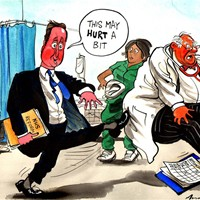 NHS Reforms; Cameron is determined to push through his part privatization of the NHS, against the better judgment of the doctors. It is yet another top-down re-organisation of the health service, something he specifically promised not to do in the manifesto.
