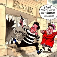 Osborne Robber; Shadow Chancellor, Ed Balls, says Osborne has not punished the banks enough for their role in the economic crisis.
