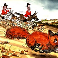 Hunting Mr Fox. Labour's Ed Miliband and Harriet Harman lead the hounds in hunting down Defence Secretary Fox after his dodgy dealings with international man of mystery Adam Werritty.