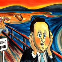 Well, I said I'd never use The Scream as a pastiche, but - hey - it was sold this week for a record price. And it coincided with the election results from hell for Cameron and his team. Yes ,the granny and pasty taxes caught up with him.